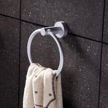 Aluminum Round LSAhroom Towel Ring Wall-Mounted Towel Rack