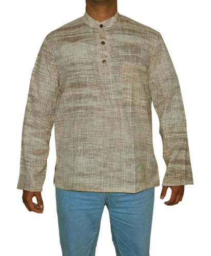 Designed Mens Casual Cotton Khadi Short Kurta Size XL
