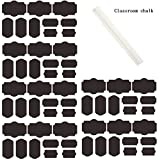 Shimie High Quality Reusable Chalkboard Labels -Fantastic for Canning and Spice Jars, Water Bottles, Custom Wine Bottle Labels,Food Buffet and Parties. Seven Color for Choice -60pcs a Pack with a Gift (Classroom chalk or white liquid chalk),Black