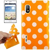 Rocina Protective Case TPU for LG E610 Optimus L5 Orange with White Spots
