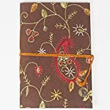 Vine Embroidered Journal - Brown