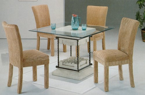 Cheap 5pc Faux Stone Glass Top Dining Table & Grey Parson Chairs Set (VF_dinset-7065-4769GRY)