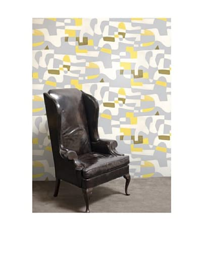 Astek Wall Coverings Set of 2 Shapeshifter Wall Tiles by Jim Flora, Yellow Flannel As You See