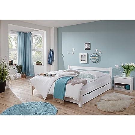 Doppelbett mit Bettschubkasten & Nachttisch ● massiv weiß lackiert ● Liegefläche 180x200cm ● inkl. Nachtkommode ● Ehebett Gästebett