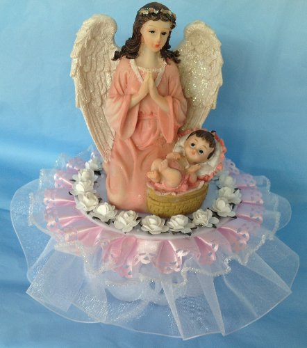 Praying Angel Over A Baby Girl Christening Baptism Cake Top Poly Resin front-773493