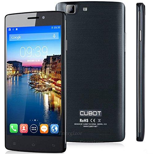 Cubot X12 FDD LTE 4G Handy 5 Zoll IPS Smartphone Ohne Vertrag Dual SIM Android 5.1 MTK6735M Quad Core 64-Bit 1GB RAM 8GB ROM 8MP Kamera Schwarz
