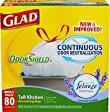 Glad Odor shield Tall Kitchen Drawstring Trash Bags, Lavender, 80 Count