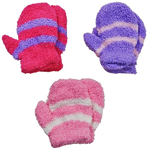 RSG Baby Mittens Soft Fuzzy & Warm 3-Pack (Purple/Pink/Raspberry)