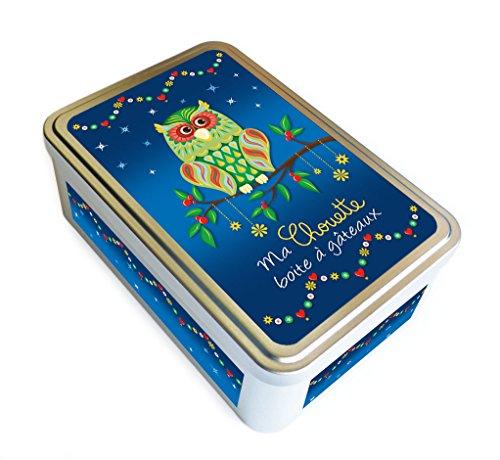 """Boite métal """"Ma chouette boite à gâteaux"""", bleue - fabriqué en France - créateur Kalam"""
