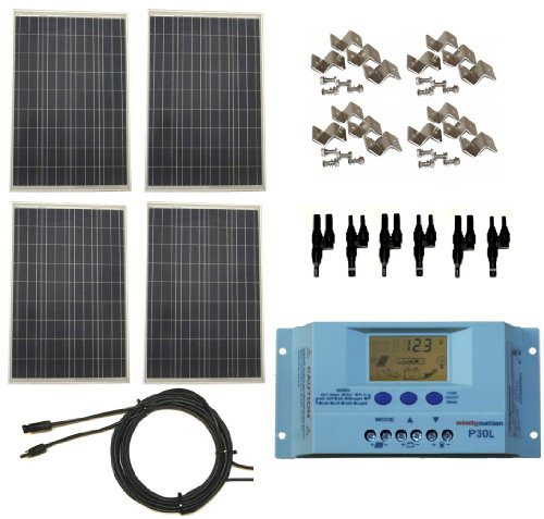 Windy Nation 400 Watt Solar Panel Complete Off-Grid Rv Boat Kit With Lcd Pwm Charge Controller + Solar Cable + Mc4 Connectors + Mounting Brackets