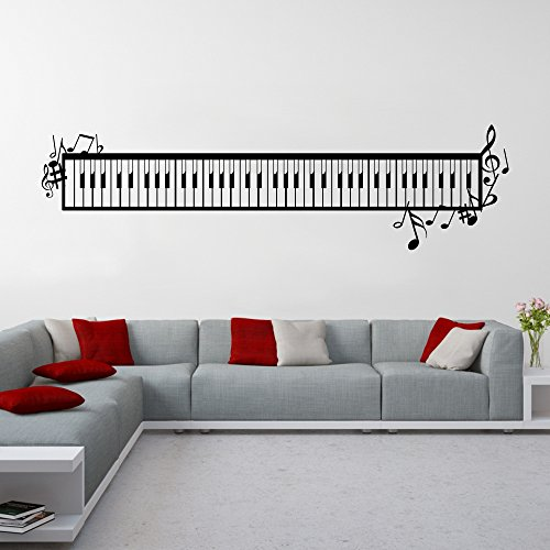 Wandtattoo-Piano-Tastatur-Wanddekoration-Noten-Musik-Musikwelt-Wand-Tattoo-Dekoration