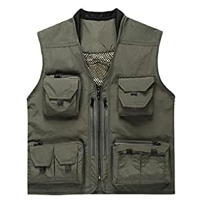Fish fly fishing vest with meshing lining 14 for Fishing vest amazon