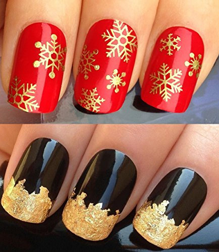 christmas-nail-decals-water-transfers-stickers-art-set-831-plus-gold-leaf-sheet-xmas-seasonal-holida