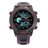 BINZI メンズクォーツスポーツ 革バンド デジタル表示防水腕時計(ブラックレッド)
