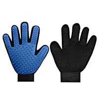 wangstar Pet Grooming Gloves Mitts, Pet Deshedding Bathing Massage Brush Glove Comb for Long & Short Hair Dogs, Cats, Bunnies, Horses, 2 Pack