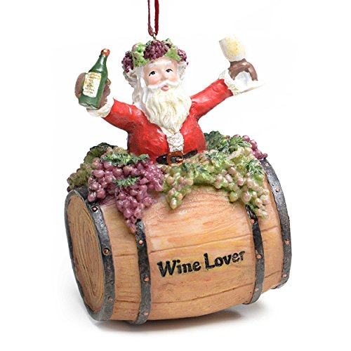 "Kurt Adler 4″ Santa on Wine Barrel ""Wine Lovers"" Christmas Ornament"