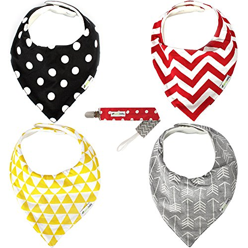 Bandana Bib - 4 Pack, Unisex - FREE Pacifier Clip Included - SavvyBaby Soft Cotton, High Quality Drool Bibs with Adjustable Nickel-Free Snaps and Premium Fleece Backing - Perfect Baby Shower Gift for Boys & Girls