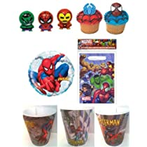 8 Marvel Super Hero Figures Party Favors with 12 Cupcake Rings, 8 Goodie Bags and Balloon - Marvel Party Bundle