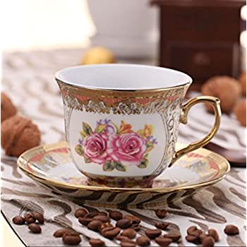 ufengkeWedding Birthday 13 Piece Gold Red Flower European-Style Chinese Ceramic Tea Set Tea Service