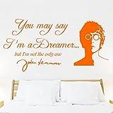 John Lennon IMAGINE Lyrics , wall sticker, decal, quote, Transfer, Bedroom, mural, new design! -LARGE -SIZE 120cm x 60cm -Orange