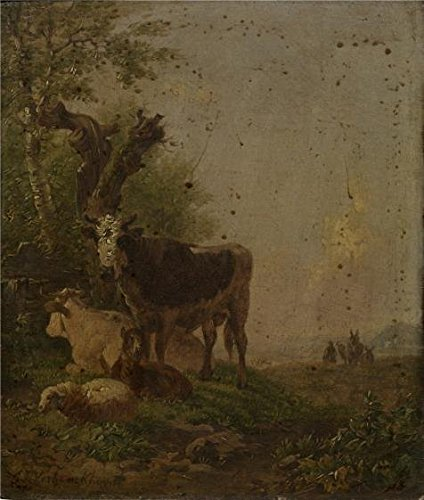 The Perfect Effect Canvas Of Oil Painting 'Eugene Joseph Verboeckhoven - Cows And Sheep, In The 19th Century' ,size: 10x12 Inch / 25x30 Cm ,this Imitations Art DecorativePrints On Canvas Is Fit For Basement Gallery Art And Home Gallery Art And Gifts