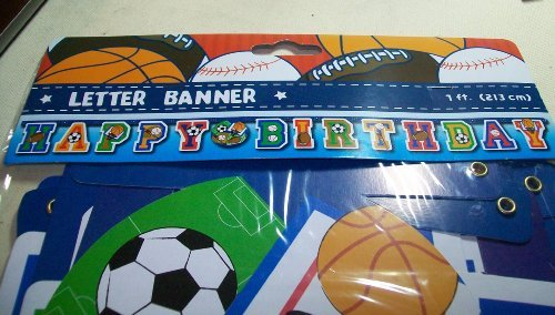 Sports Themed Happy Birthday Letter Banner