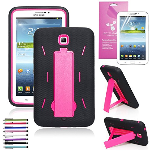 Galaxy Tab 3 7.0 Case (Not for Lite) ,EpicGadget(TM) Shockproof Heavy Duty Impact Hybrid Protective Case with Kickstand For Samsung Tablet Tab 3 7.0 With Tab 3 7.0 Screen Film(I Stand Black Pink)