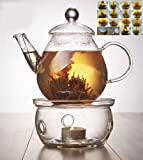 Kitchen - Glass Teapot 650ml/23oz+ warmer +12 Blooming Flower tea tin Gift