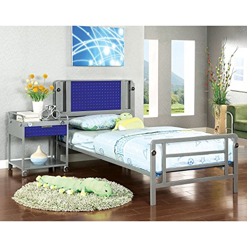 Furniture Of America Spencer Bolt Design Metal 2-Piece Bedroom Collection With Nightstand -, Silver, Metal, Twin front-1079454