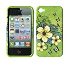 Hawaiin Flowers Apple Iphone 4, 4S at&t. Verizon, Sprint, C Spire Case Cover Hard Phone Case Snap-on Cover Rubberized Touch Faceplates
