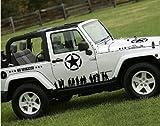 GINOVO US Army Car Decal/Sticker for Jeep Grand Cherokee Compass Wrangler Patriot SUV CRV (Black)
