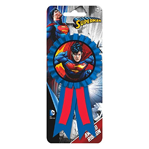 1 X DC Comic Book Superman Superhero Birthday Party Award Ribbon Prize Badge