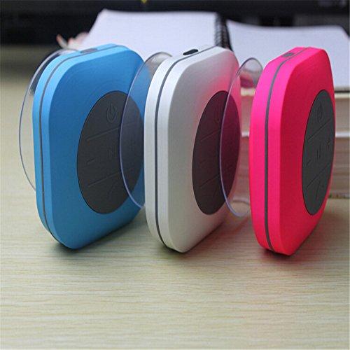 Worldnow Enceintes Bluetooth stéréo sans fil étanches,en forme carré, avec ventouse, utilisées dans salle de bains, voiture, idées cadeaux Blanc