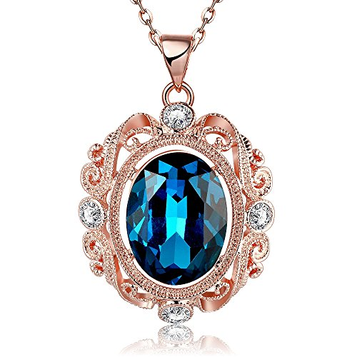 Gorgeous Jewelry Rose Gold Plated Color Diamond Accented Blue Crystal Women Necklace