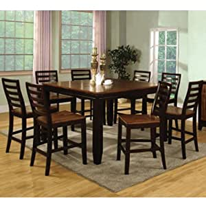 ... Espresso Finish 9-Piece Counter Height Dining Set - Table & Chair Sets