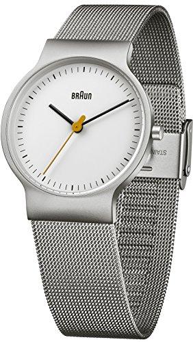Braun Klassische Armbanduhr BN0211WHSLMHL - Orologio da polso da uomo, cinturino in acciaio inox colore argento