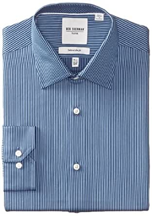 Ben Sherman Men's Stripe Dress Shirt, Dark/Light Blue, 15 Inch x 32/33 Inch