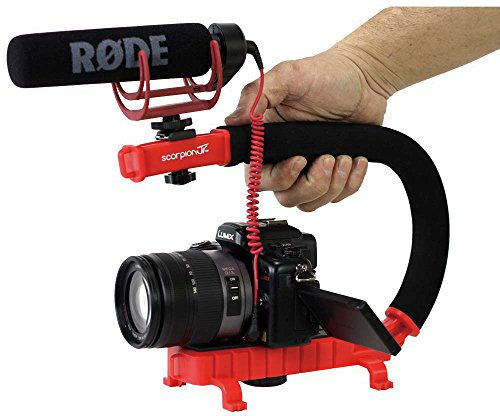 Cam Caddie Scorpion Jr. Video Camera Stabilizing Handle with Included Smartphone and GoPro Compatible Mounts - Red (0CC-0100-JR-RED) (Slow Mo Video compare prices)