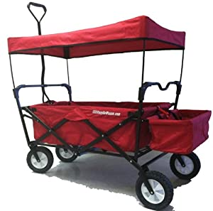 Childrens Red Pull Along Wagon. Unique Folding Design is more portable than Red Flyer. Fits in trunk of standard car. Made by EasyGoWagon®