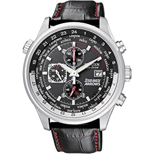 Citizen Men's Red Arrows Black Leather Strap Watch CA0080-03E