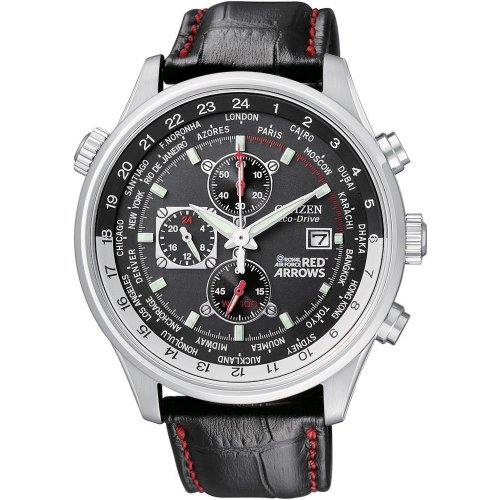 Citizen CA080-03E Gents Royal Air Force Red Arrows Chronograph Black Leather Strap Red Trimmings Watch