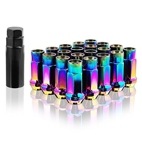 Vimax Open End Aluminum Extended Tuner Wheel/Lug Nuts Set 12mm x 1.5mm Neon Chrome (Set of 20) (Acura Integra Wheels compare prices)