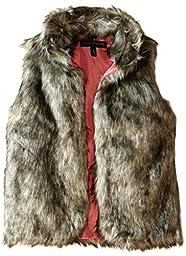 Derek Heart Big Girls\' Faux Fur Vest, Grey Tonal, Medium