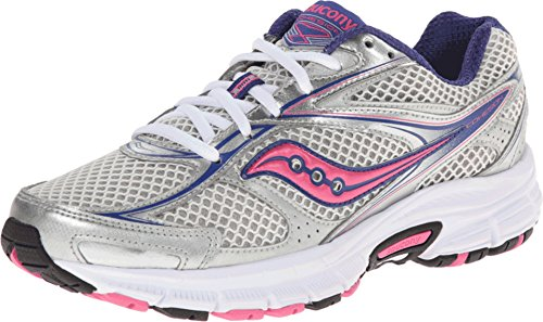 Saucony Women's Cohesion 8 Running Shoe,Silver/Navy/Pink,7 M US