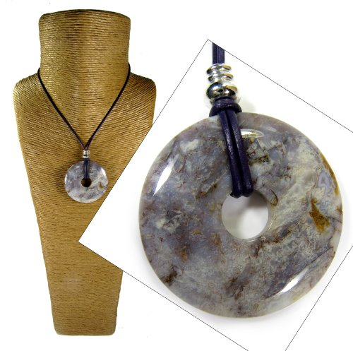 Large 50mm Lilac Pietersite Donut Pendant Necklace with Purple Leather Cord by Diosa Jewellery