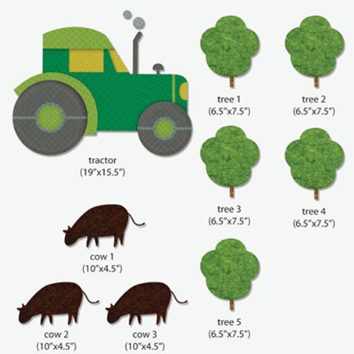 My Wonderful Walls Tractor-Trees-Cows Wall Stickers for Kid's Farm Mural, Multicolored
