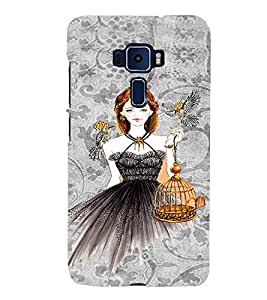 PrintVisa Fashion Bird Girl Dress Design 3D Hard Polycarbonate Designer Back Case Cover for ASUS ZENFONE 3 ZE552KL