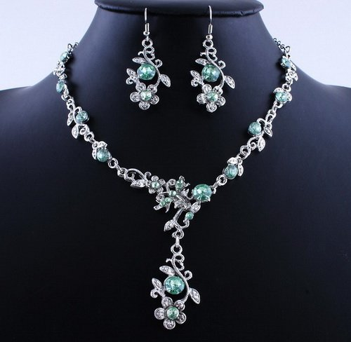 Hot Flower Wedding Party Alloy Acrylic Necklace Earring sets Green