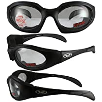 LTD FOAM PADDED SUNGLASSES, MOTORCYCLE ATV SPORTS EYEWEAR CLEAR LENSES