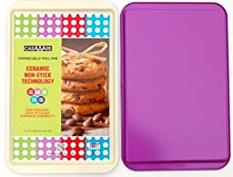 CasaWare Ceramic Coated NonStick Cookie/Jelly Roll Pan 11''x17'', Cream/Purple